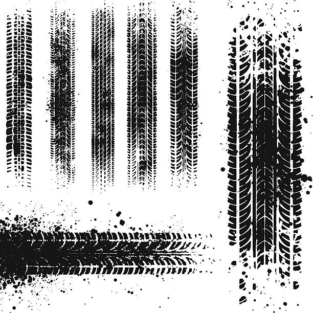 Dirty tyre tracks Various grunge tyre marks. tires stock illustrations