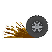 Dirty wheel of the truck. Off-road driving. ground on tire. Car wash symbol. Garbage and dirt. Cartoon flat illustration