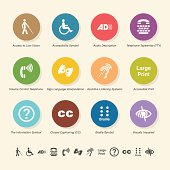 Disability Access Icons - Color Circle Series