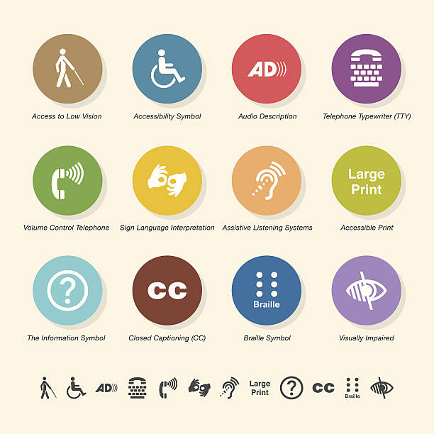 Disability Access Icons - Color Circle Series vector art illustration