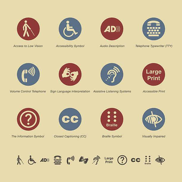 illustrazioni stock, clip art, cartoni animati e icone di tendenza di accesso disabilità icone-serie di colore - sordità