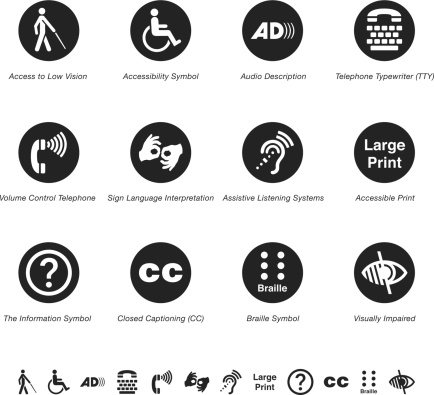 Disability Access Silhouette Vector EPS10 File Icons.