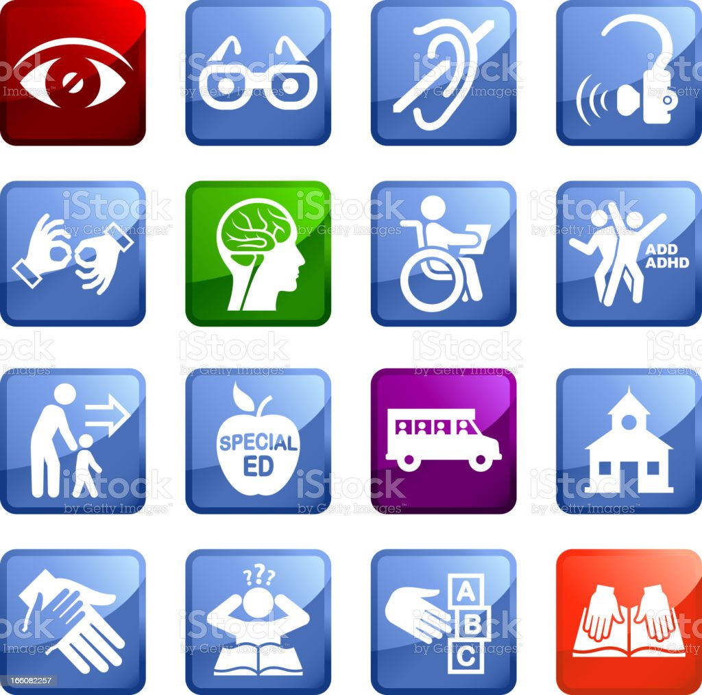 Disability and Special education royalty free vector icon set stickers vector art illustration