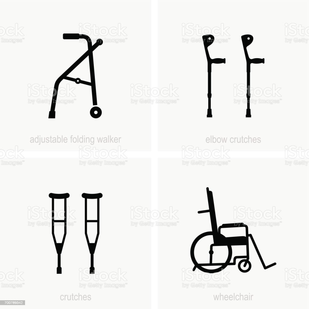 Disability assistive devices vector art illustration