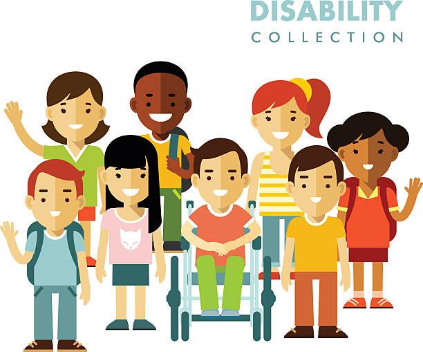 ilustrações de stock, clip art, desenhos animados e ícones de disability children friendship concept - crianças todas diferentes