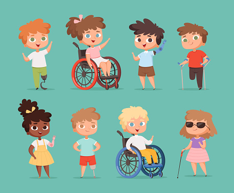 Disability children. Kids sitting in wheelchairs handicapped little persons in school vector cartoon illustrations