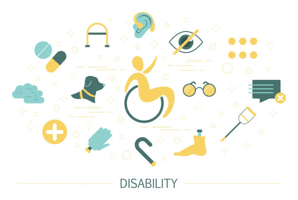 Disability concept. Person with disabilities vector art illustration