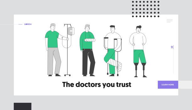 殘疾概念網站著陸頁。殘疾患者站在原始。人與滴滴, 斷手和腿, 殘疾人與腳假肢 網頁橫幅卡通平面向量插圖 - 健康科技 幅插畫檔、美工圖案、卡通及圖標