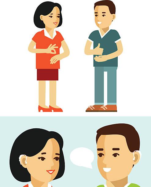 illustrazioni stock, clip art, cartoni animati e icone di tendenza di disability deaf person concept. people with hearing aid. - sordità