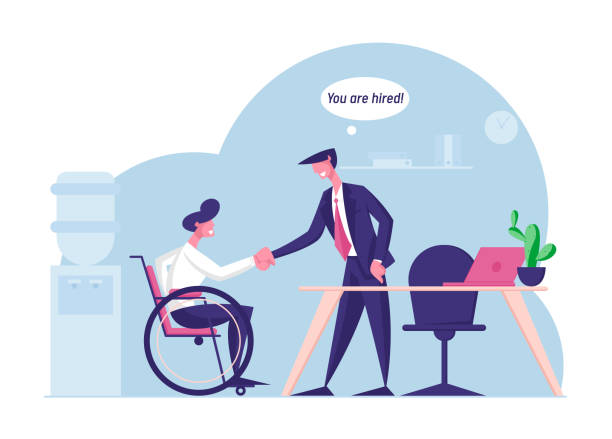 Disability Employment, Work for Disabled People Concept. Handicapped Man Sit in Wheelchair Shaking Hand with Boss or Colleague in Office Introducing with New Workplace Cartoon Flat Vector Illustration Disability Employment, Work for Disabled People Concept. Handicapped Man Sit in Wheelchair Shaking Hand with Boss or Colleague in Office Introducing with New Workplace Cartoon Flat Vector Illustration human body part stock illustrations