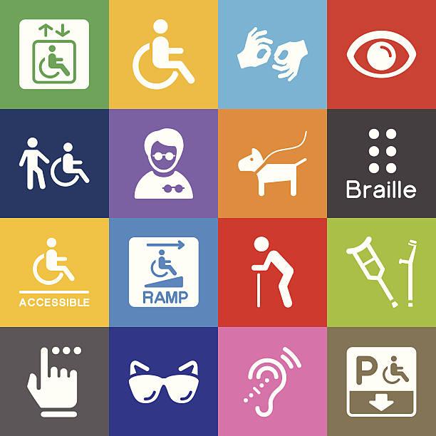 illustrazioni stock, clip art, cartoni animati e icone di tendenza di invalidità icone e colore di sfondo - sordità
