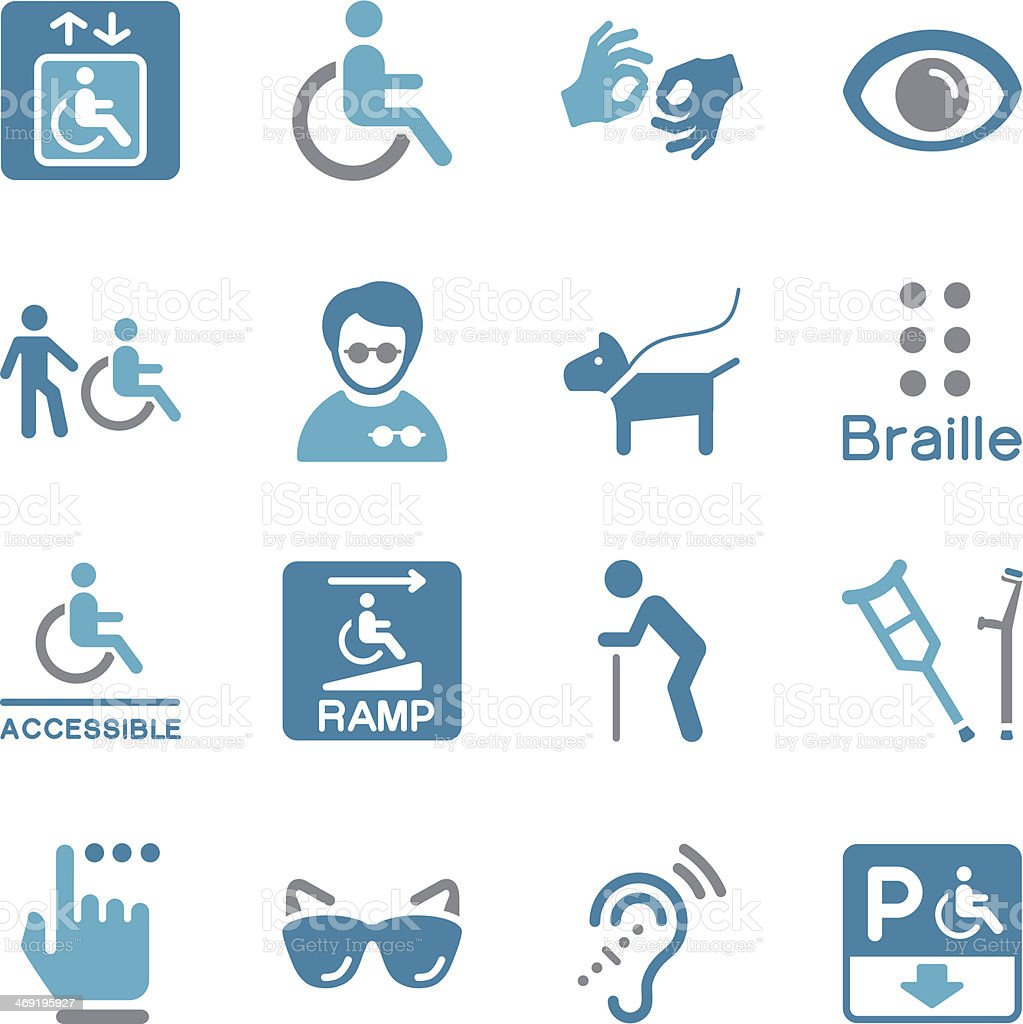 Disability Icons | Color royalty-free stock vector art
