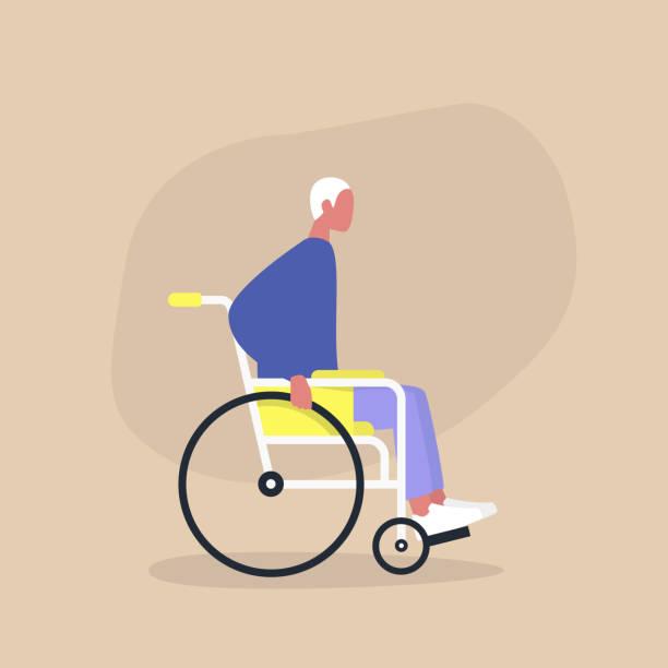 Handicap in een dagelijks leven, jong gehandicapte mannelijke personage zittend in een rolstoelvectorkunst illustratie