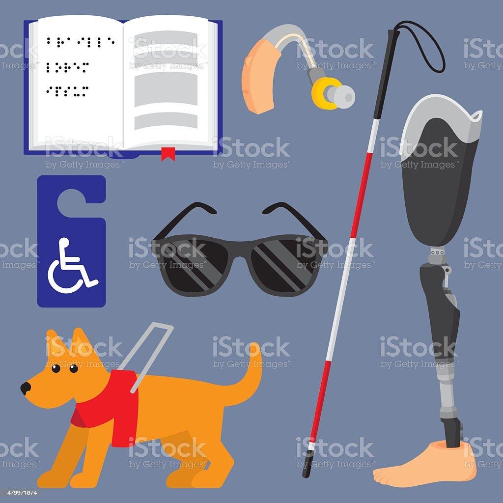 Disability Items Flat Set vector art illustration