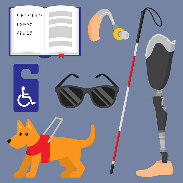 disability items flat set - hearing aid 幅插畫檔、美工圖案、卡通及圖標