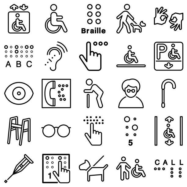illustrazioni stock, clip art, cartoni animati e icone di tendenza di disability line icons - sordità