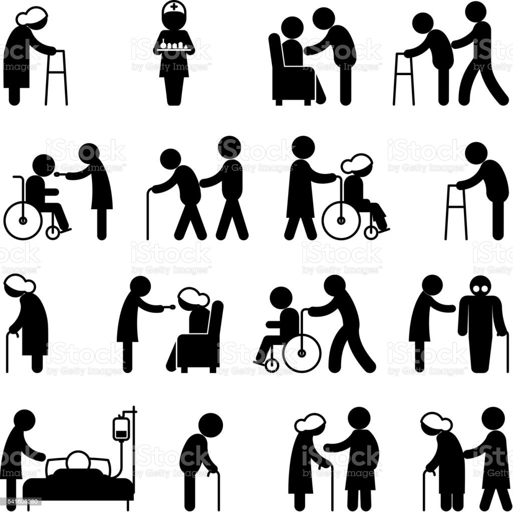 Disability people nursing and disabled health care icons vector art illustration