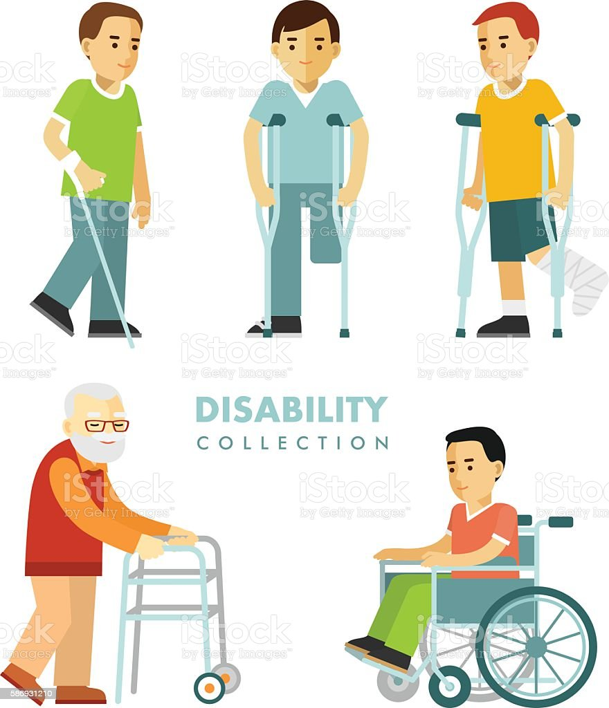 Disability people set vector art illustration