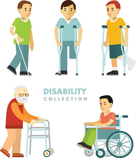 bildbanksillustrationer, clip art samt tecknat material och ikoner med disability people set - senior walking