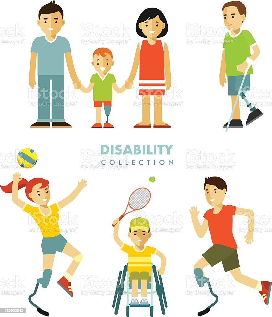 Disability people set - ilustración de arte vectorial