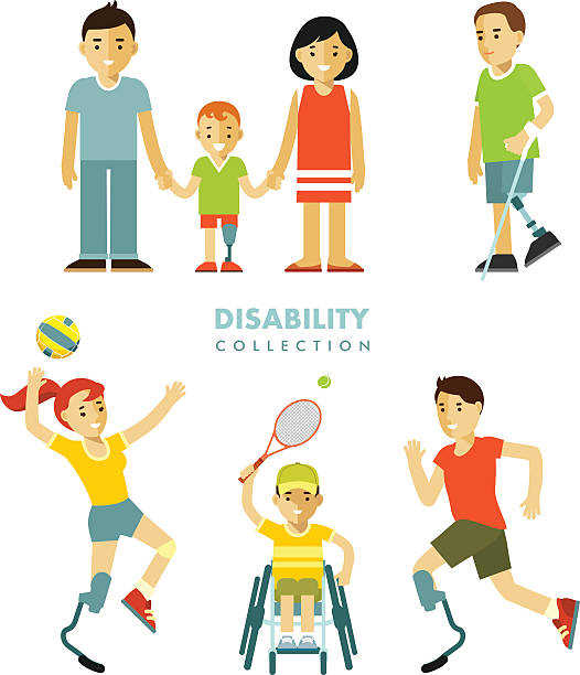 disability people set - wheelchair sports stock illustrations, clip art, cartoons, & icons