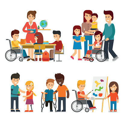 Disability person vector flat illustration