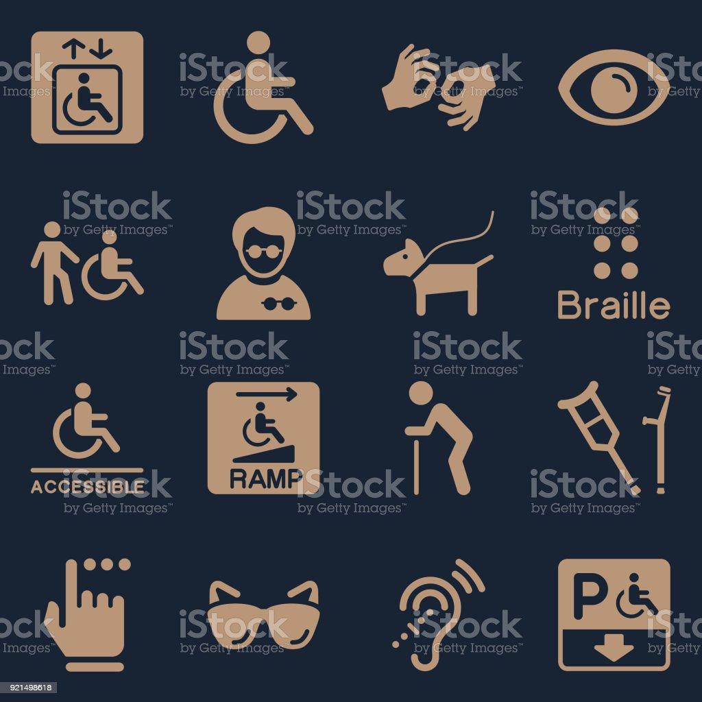Disability Symbols Color vector art illustration