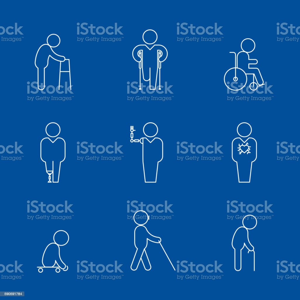 Disability thin line icons vector art illustration