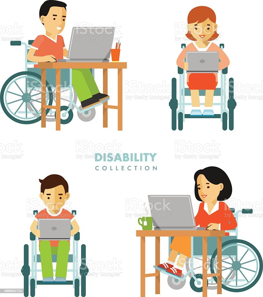 Disability worker people set vector art illustration