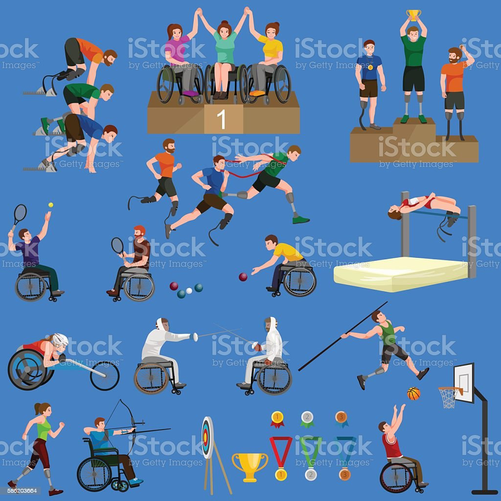 Disable Handicap Sport Games Stick Figure Pictogram Icons - ilustración de arte vectorial