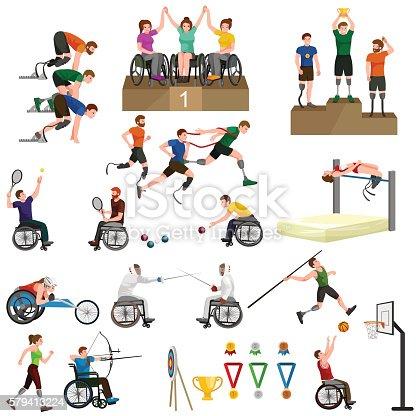 Disable Handicap Sport Paralympic Games Stick Figure Pictogram Icons vector