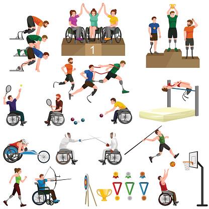 Disable Handicap Sport Paralympic Games Stick Figure Pictogram Icons