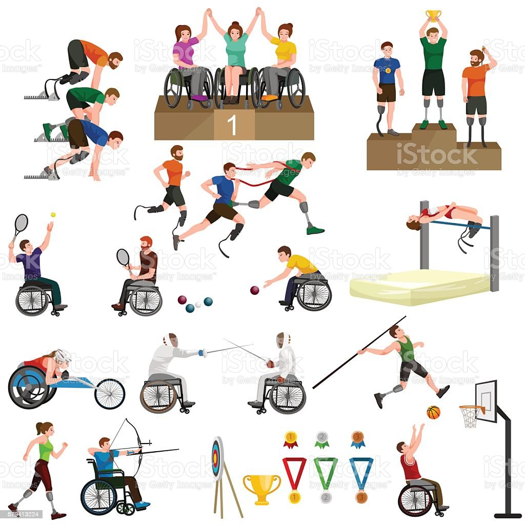 Disable Handicap Sport Paralympic Games Stick Figure Pictogram Icons - ilustración de arte vectorial