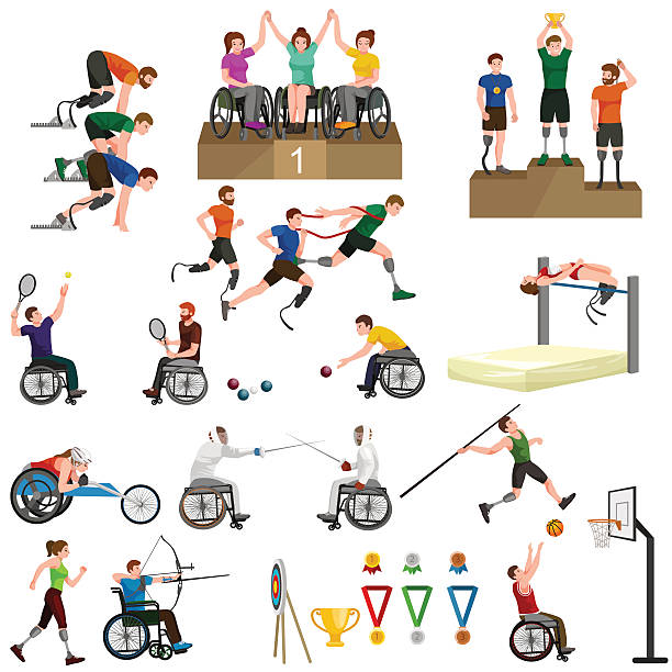 disable handicap sport paralympic games stick figure pictogram icons - wheelchair sports stock illustrations, clip art, cartoons, & icons