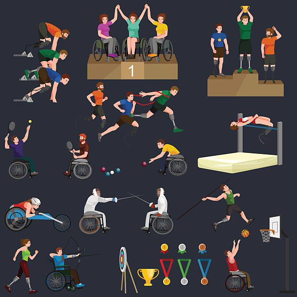 Disable Handicap Sport Paralympic Games Stick Figure Pictogram Icons - Illustration vectorielle