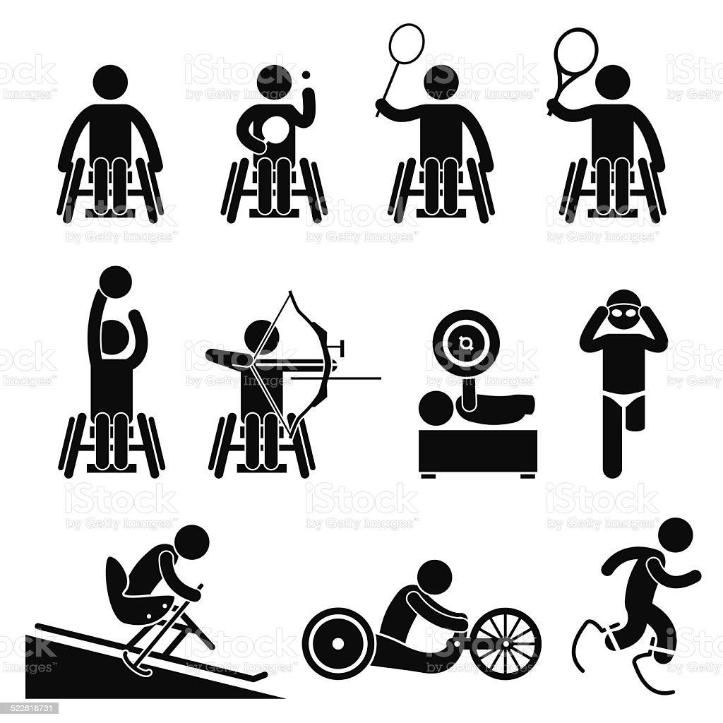 Disable Handicap Sport Paralympic Games vector art illustration