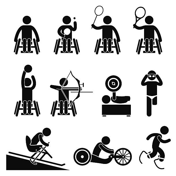 disable handicap sport paralympic games - wheelchair sports stock illustrations, clip art, cartoons, & icons