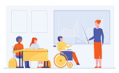 Disable student in class. Girl in wheelchair discussing graphs with teacher flat vector illustration. Education, diversity, school concept for banner, website design or landing web page
