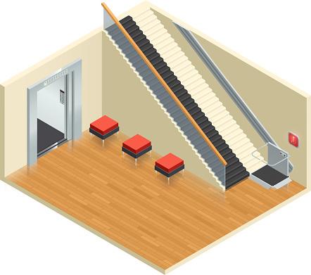 disabled access elevator lift escalator isometric interior