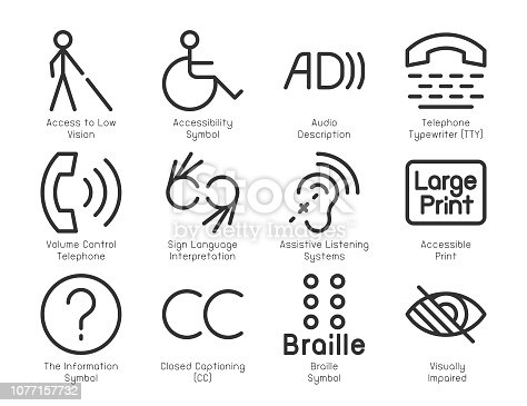 Disabled Accessibility Icons Light Line Series Vector EPS File.