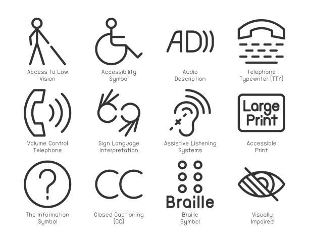 殘障人士輔助圖示-輕型線路系列 - hearing aid 幅插畫檔、美工圖案、卡通及圖標