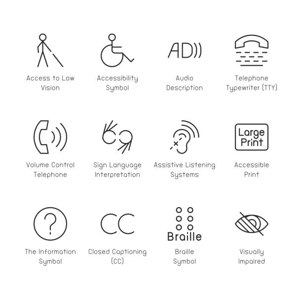 disabled accessibility icons - thin line series - store stock illustrations