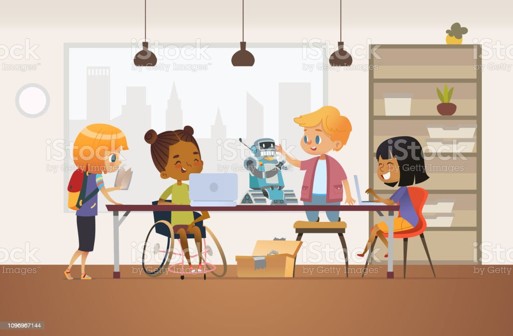Disabled African American girl in wheelchair and other children standing around desk with laptops and robot and working on school project for programming lesson. Concept of inclusion at school. Disabled African American girl in wheelchair and other children standing around desk with laptops and robot and working on school project for programming lesson. Concept of inclusion at school Adult stock vector