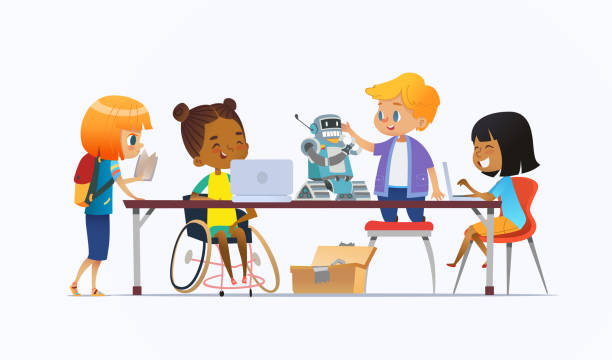 illustrazioni stock, clip art, cartoni animati e icone di tendenza di disabled african american girl in wheelchair and other children standing around desk with laptops and robot and working on school project for programming lesson. concept of inclusion at school. - young digital