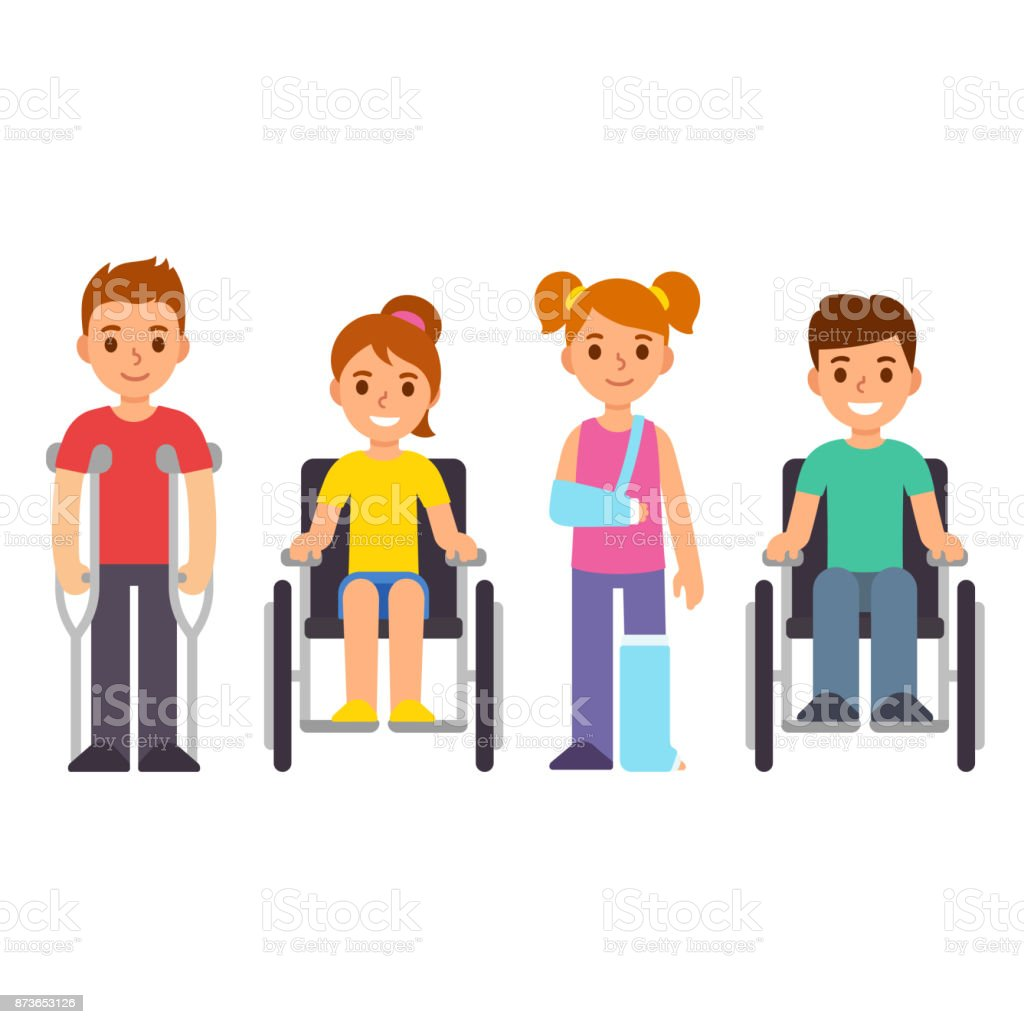 Disabled and injured cartoon children vector art illustration