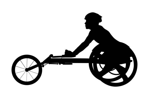 disabled athlete racer on wheelchair - wheelchair sports stock illustrations, clip art, cartoons, & icons