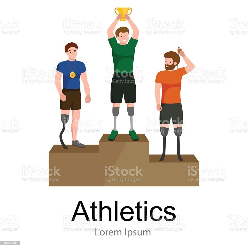 disabled athlete with prosthesis isolated concept, sport for people  , physical vector art illustration