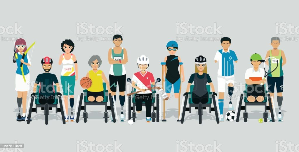 Disabled athletes - ilustración de arte vectorial