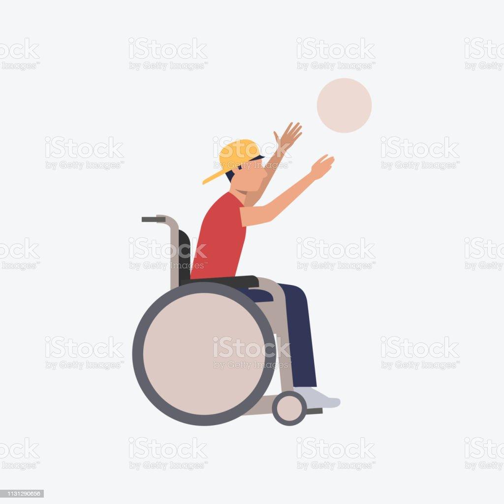障がい者バスケットボール選手フラットアイコン ベクターアートイラスト