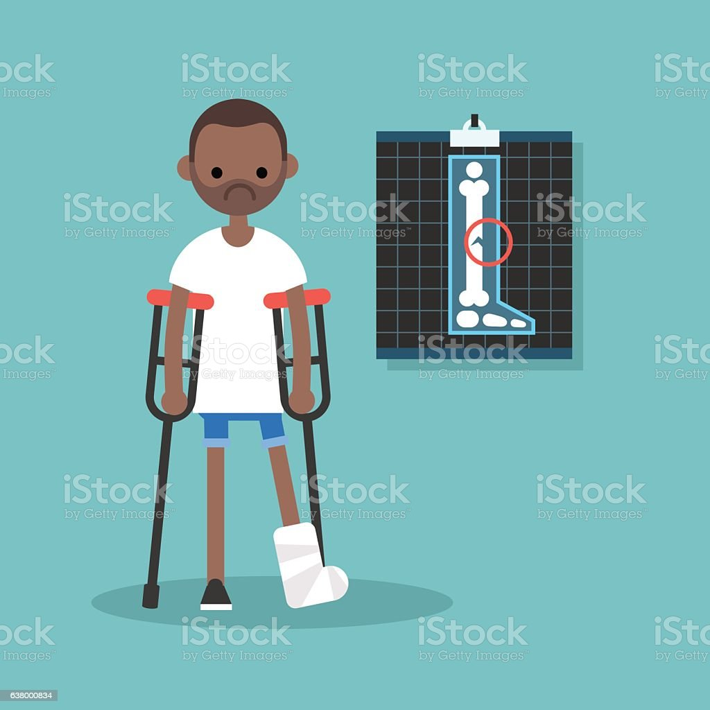 Disabled black man on crutches with broken leg vector art illustration